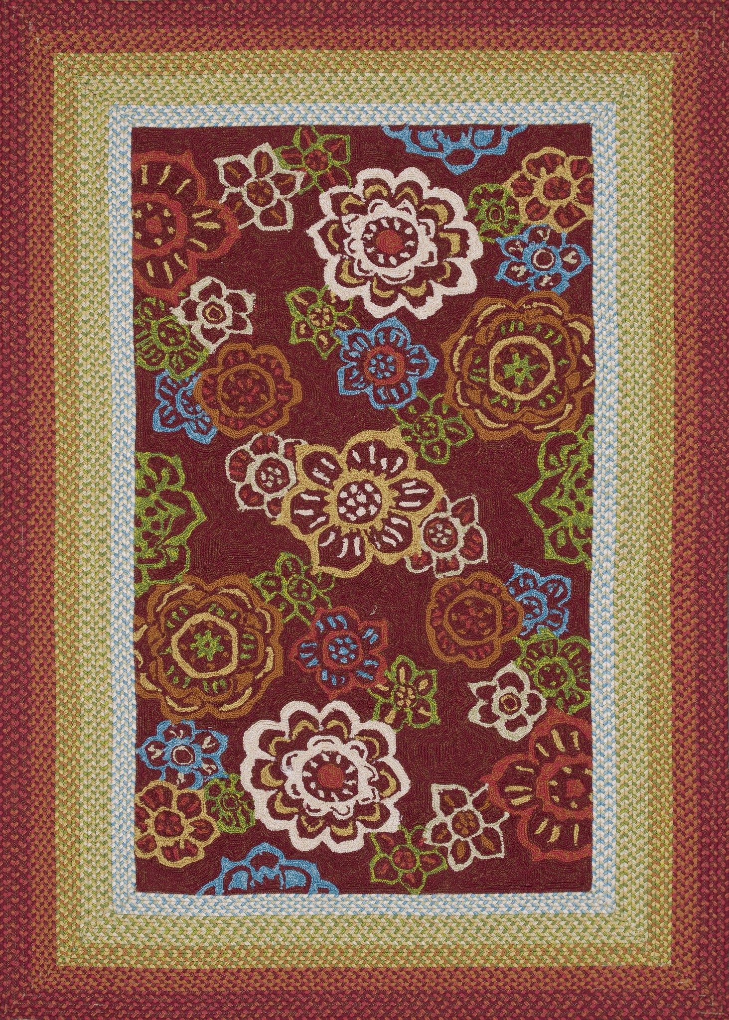 4x6 Loloi Rug Indoor Outdoor Zamora Red Hand hooked